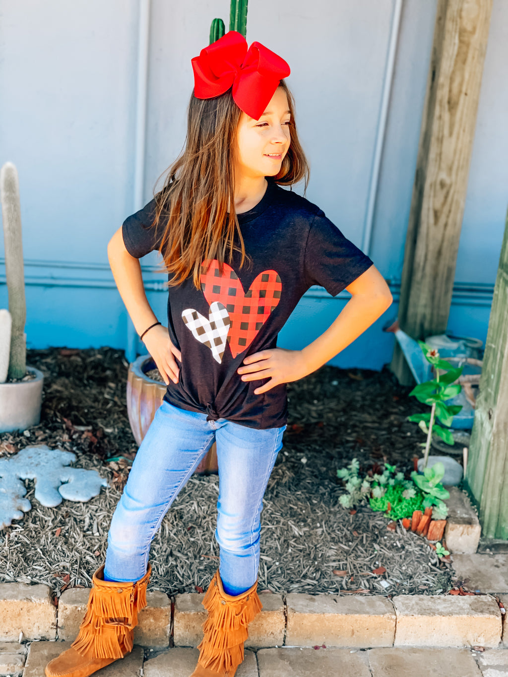 Kids Double Plaid Heart Tee