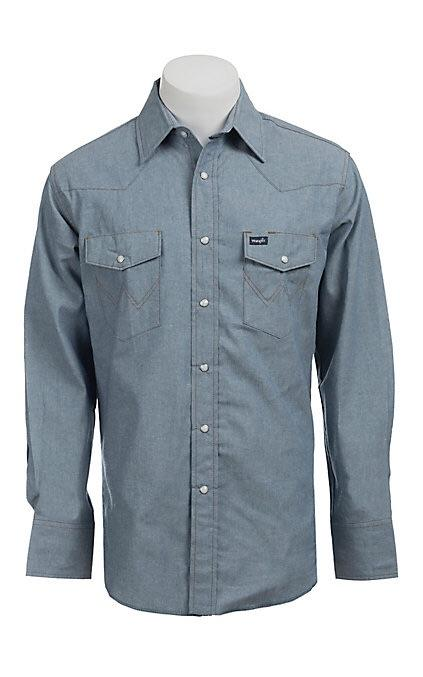 Men's Cowboy Cut L/S Chambray Snap Shirt 100% Cotton