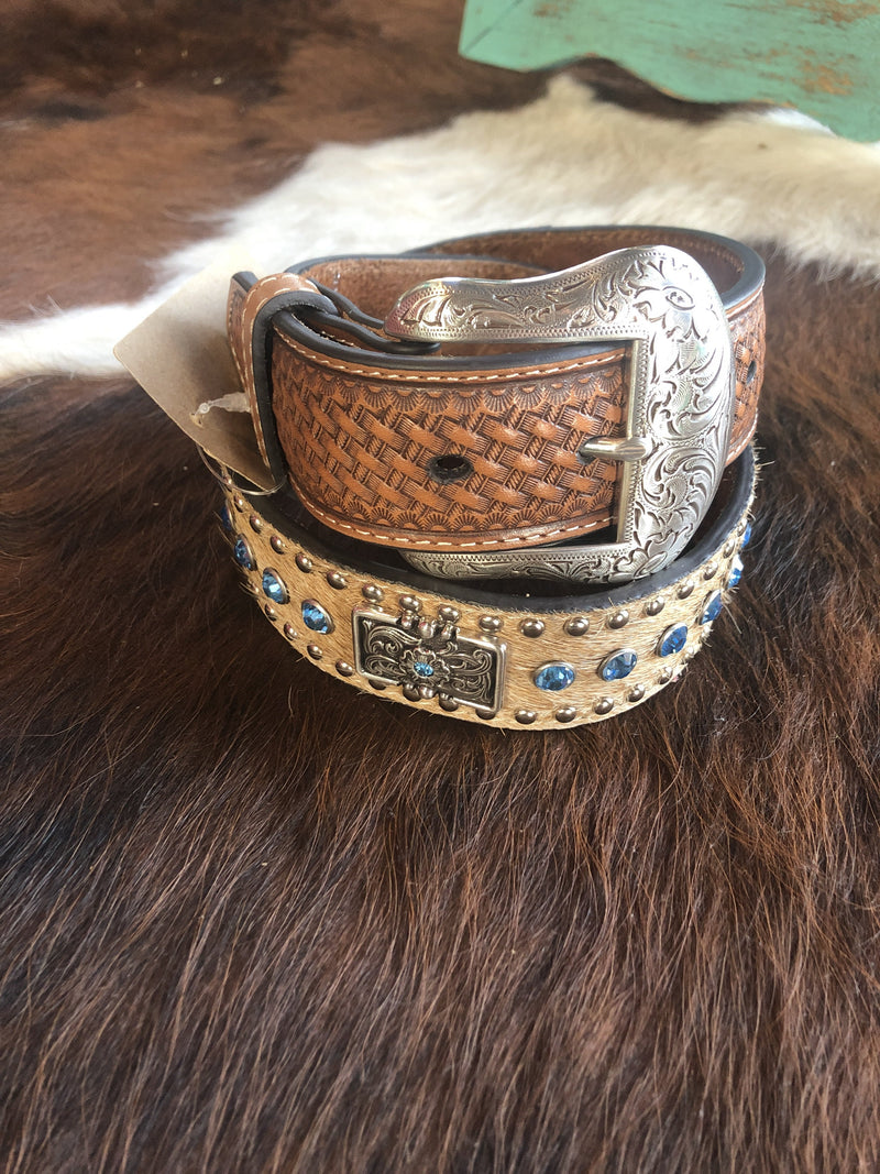 Brown on Hair Blue Stone Concho Belt