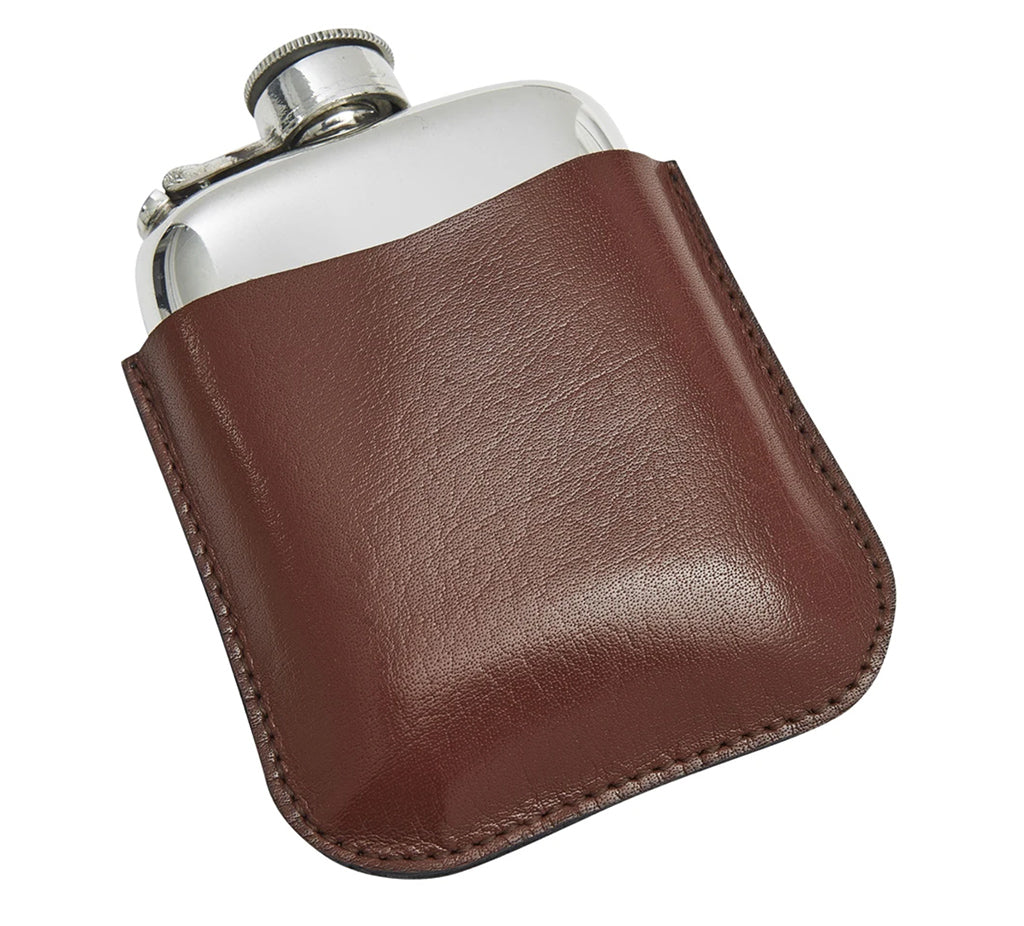 Pewter Pocket Flask and Leather Pouch