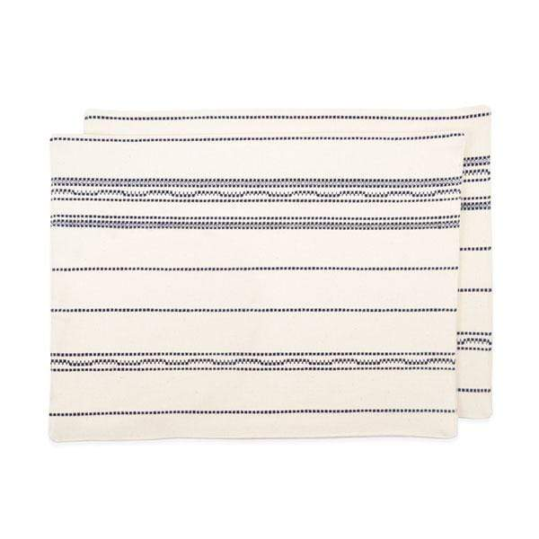 Amana Shops Tabletop Natural & Navy Amana Weave Cotton Placemats Kaufmann Mercantile