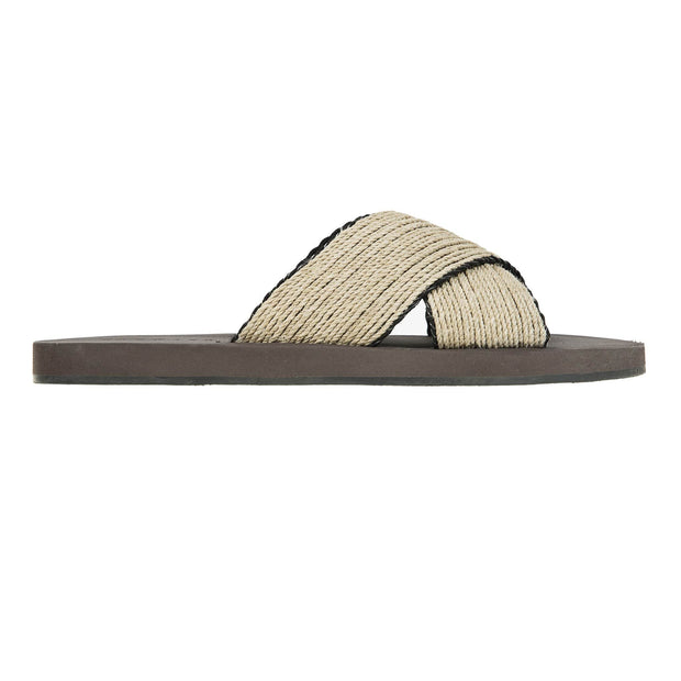 DANWARD Sandal Criss-cross bicolored raffia and leather lined beach slide with micro bottom Kaufmann Mercantile