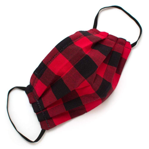 General Knot & Co. Masks One Size / Red/Black Reusable Buffalo Check Face Mask- Elastic Loops Kaufmann Mercantile