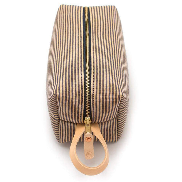 General Knot & Co. Travel Organization One Size / Tan/Navy Vintage French Ticking Stripe Travel Kit Kaufmann Mercantile