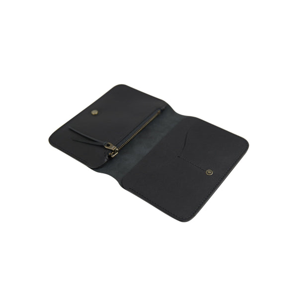 IEFrancis Minimalist Goods Wallets & Card Cases Black / No Australian Leather Zip Fold Hybrid Wallet Kaufmann Mercantile