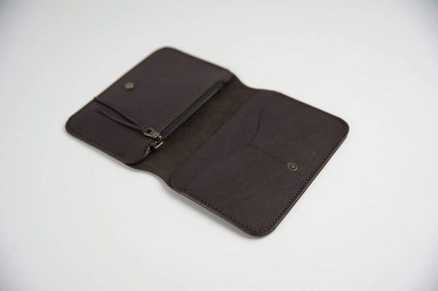 IEFrancis Minimalist Goods Wallets & Card Cases Dark Brown / No Australian Leather Zip Fold Hybrid Wallet Kaufmann Mercantile