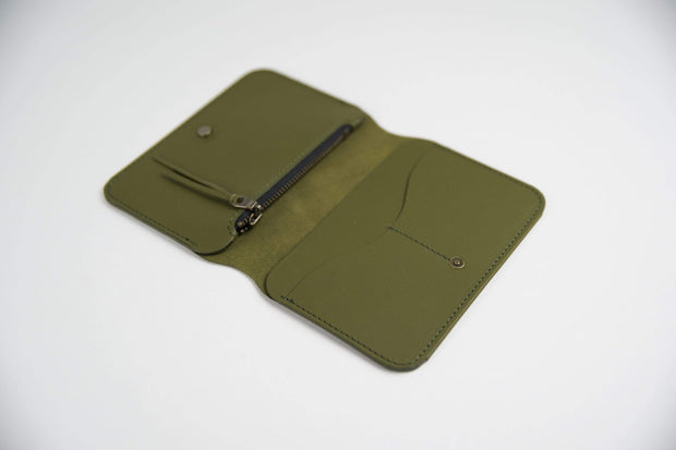 IEFrancis Minimalist Goods Wallets & Card Cases Olive / No Australian Leather Zip Fold Hybrid Wallet Kaufmann Mercantile