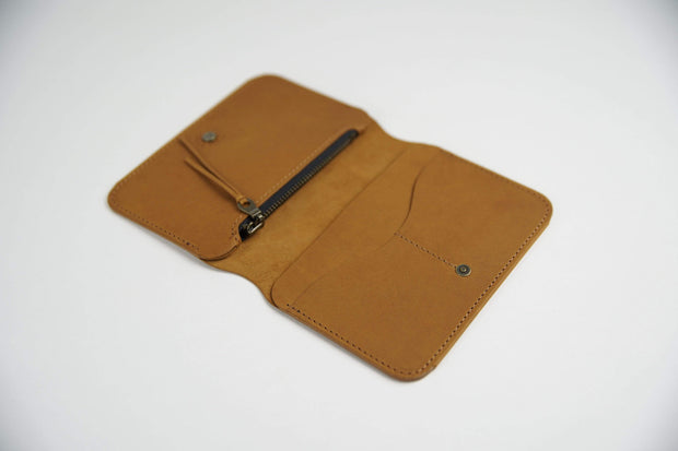 IEFrancis Minimalist Goods Wallets & Card Cases Tan / No Australian Leather Zip Fold Hybrid Wallet Kaufmann Mercantile