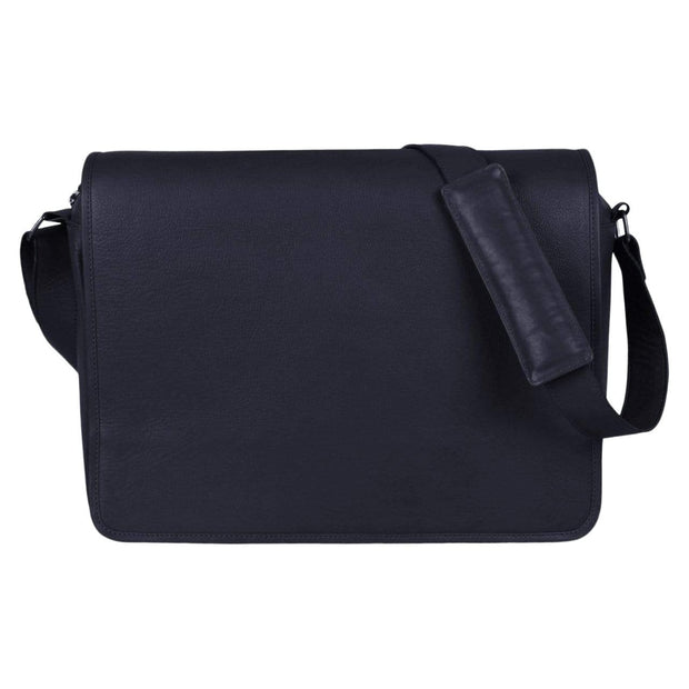 Issara Women navy Leather Messenger Bag Kaufmann Mercantile