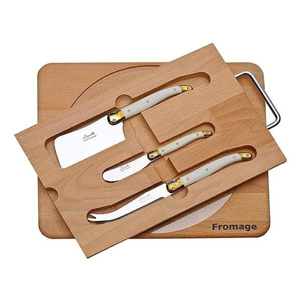 Jean Dubost Knives & Cutting Boards Laguiole Ivory Cheese Knife Set with Board Kaufmann Mercantile