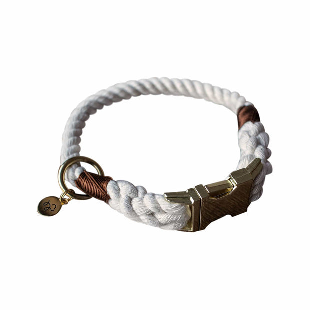 Kohsi Pets Collars & Harnesses Luxury Cotton Rope Collar  in Natural White Kaufmann Mercantile
