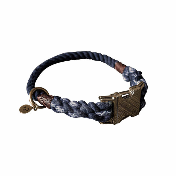 Kohsi Pets Collars Luxury Cotton Rope Collar in Charcoal Grey Kaufmann Mercantile