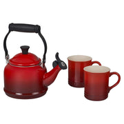 Le Creuset Coffee & Tea Cerise Demi Teakettle and Two Mug Set Kaufmann Mercantile