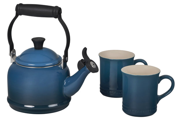 Le Creuset Coffee & Tea Deep Teal Demi Teakettle and Two Mug Set Kaufmann Mercantile