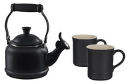 Le Creuset Coffee & Tea Licorice Demi Teakettle and Two Mug Set Kaufmann Mercantile