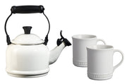 Le Creuset Coffee & Tea White Demi Teakettle and Two Mug Set Kaufmann Mercantile
