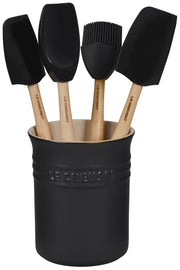 Le Creuset Cookware Licorice Craft 5-Piece Kitchen Utensil Set with Crock Kaufmann Mercantile