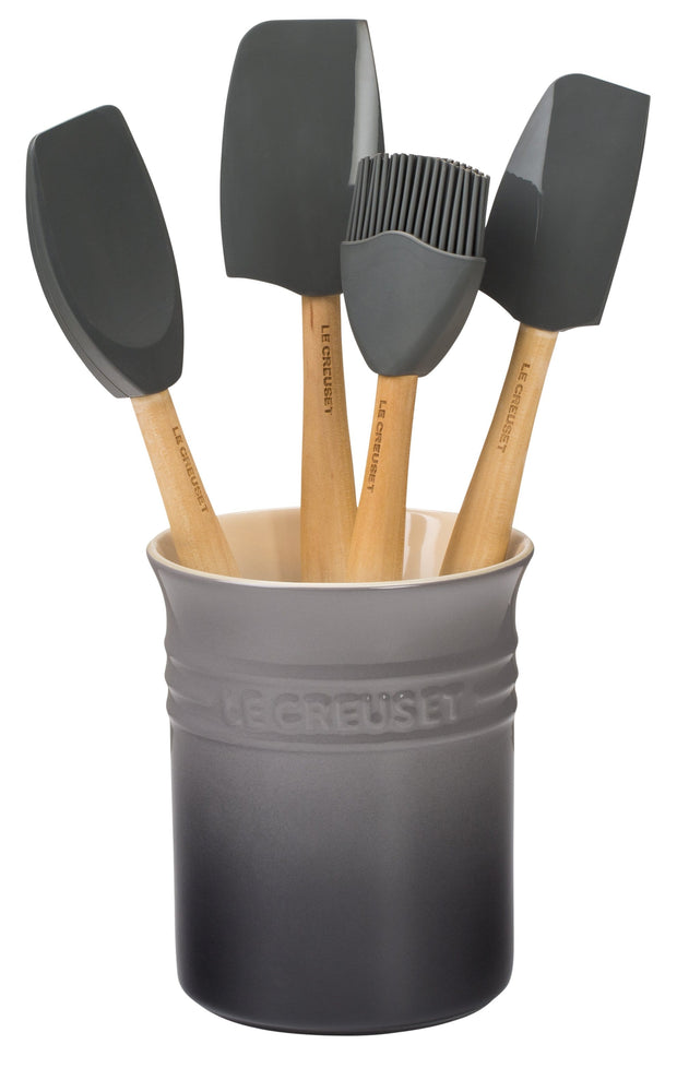 Le Creuset Cookware Oyster Craft 5-Piece Kitchen Utensil Set with Crock Kaufmann Mercantile