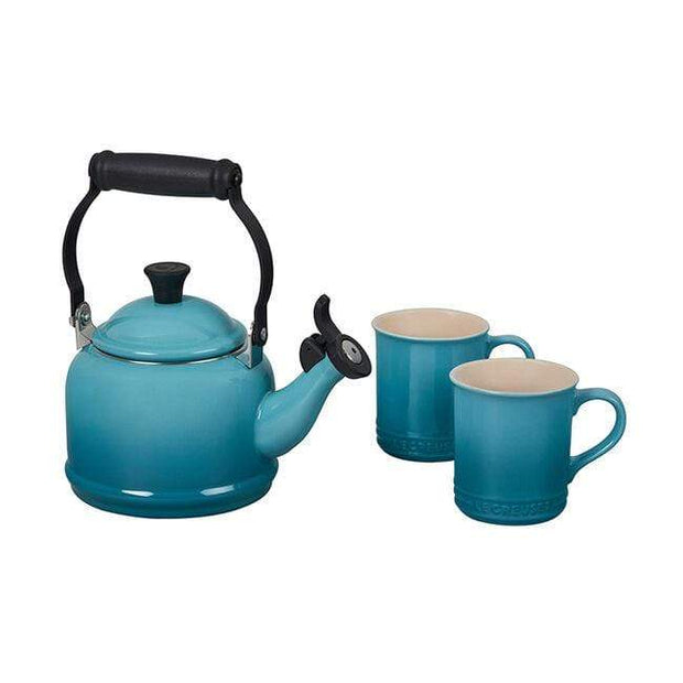 Le Creuset Cookware Caribbean Demi Teakettle and Two Mug Set Kaufmann Mercantile