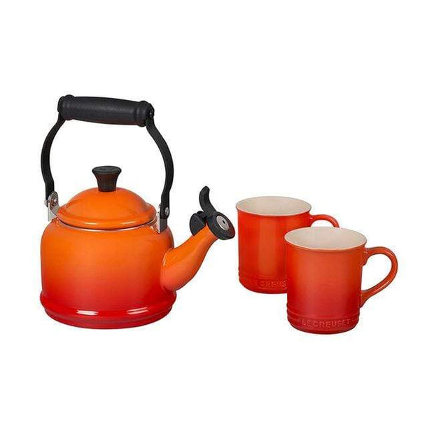 Le Creuset Cookware Flame Demi Teakettle and Two Mug Set Kaufmann Mercantile