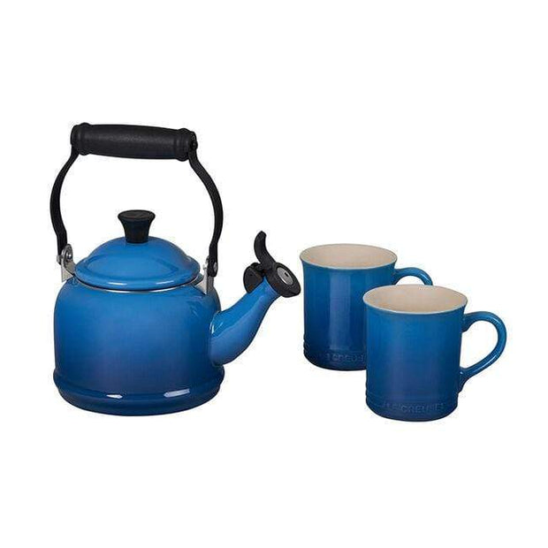 Le Creuset Cookware Marseille Demi Teakettle and Two Mug Set Kaufmann Mercantile