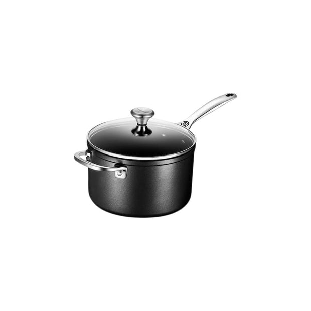 Le Creuset Cookware Toughened Non-Stick PRO 4-Qt. Saucepan with Glass Lid Kaufmann Mercantile