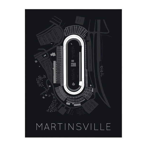 "Rear View Prints Home Decor 12"" X 16"" / Black The Paperclip - Martinsville Speedway Race Track Poster Kaufmann Mercantile"