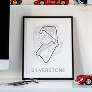 "Rear View Prints Photography & Prints 12"" X 16"" / White The Blueprint of Velocity – Silverstone Circuit Poster Kaufmann Mercantile"
