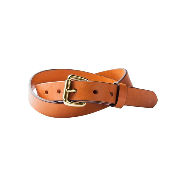 SAMSON...A Men's Emporium Belts Saddle Tan Skinny Standard Belt w/ Brass Buckle Kaufmann Mercantile