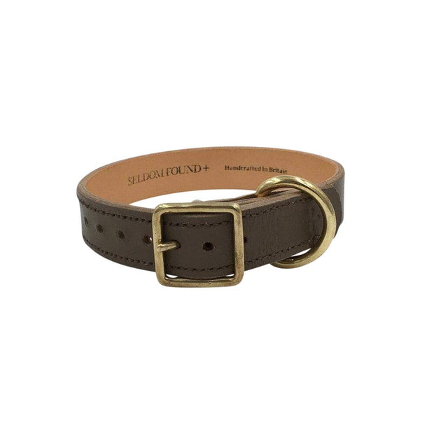 Seldom Found Collars + Harnesses Artisan Leather and Brass Dog Collar in Greige Kaufmann Mercantile