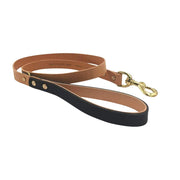 Seldom Found Leashes + Leads Artisan Leather Dog Lead in Raven Black and Tan Kaufmann Mercantile