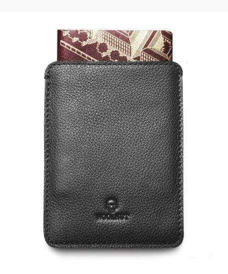 Woolnut Wallets & Card Cases Black Passport Sleeve Kaufmann Mercantile