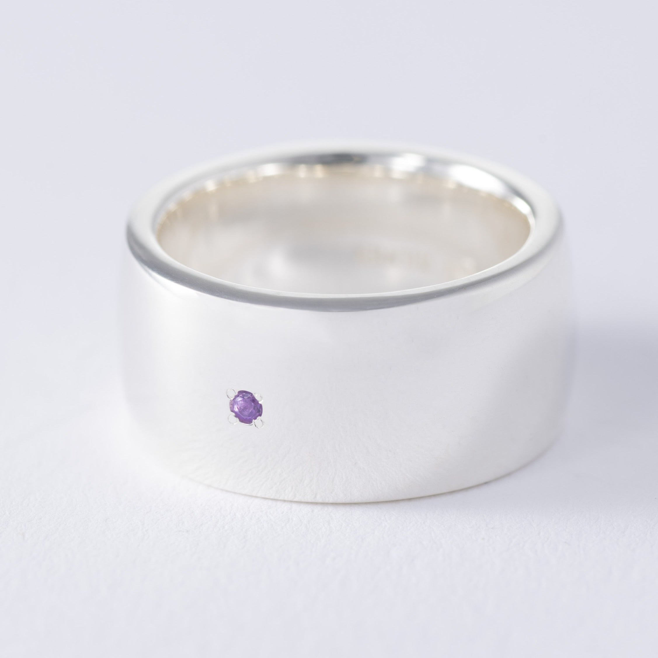 silver birthstone amethyst plump ring[made to order]