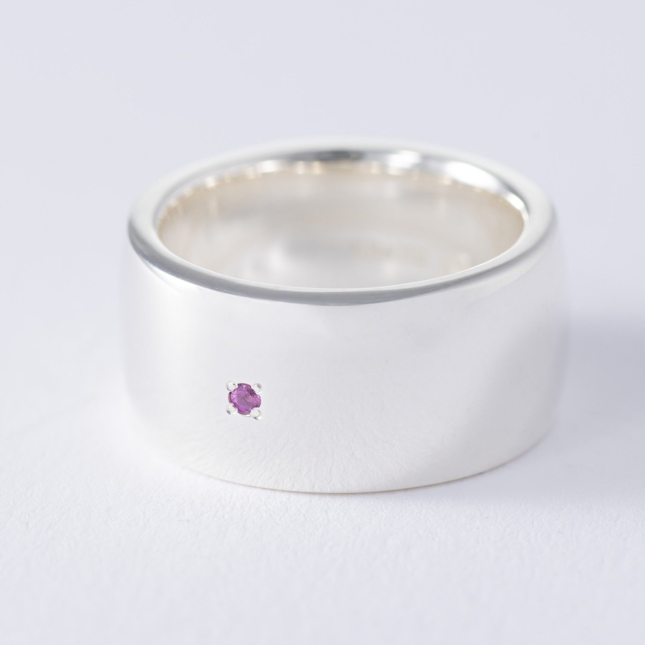 silver birthstone ruby plump ring[made to order]