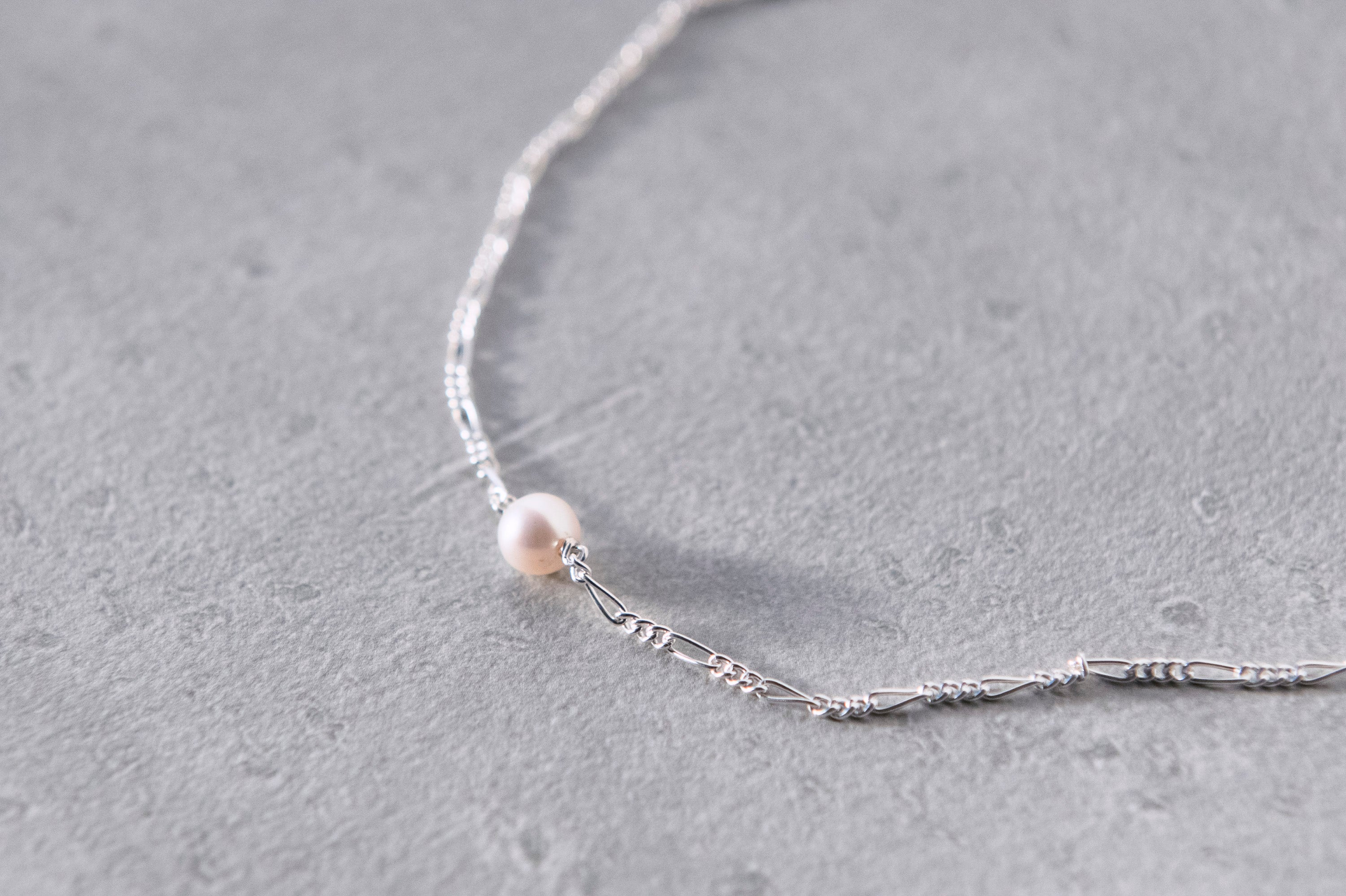 silver pearl chain Necklace[made to order]