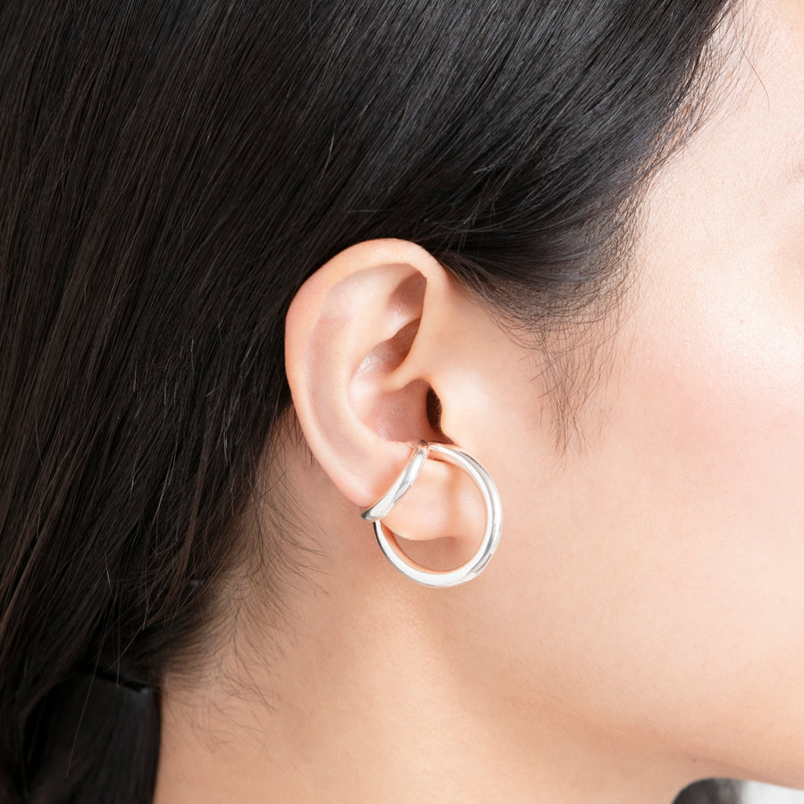 silver double line ear cuff[made to order]