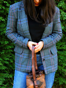 blazer à carreaux tweed vintage