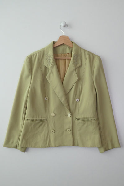 Blazer couleur pistache en pure laine vintage made in France