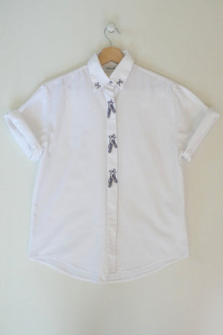chemise en coton brodée vintage made in France