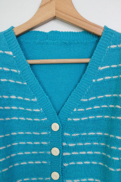 top cardigan en maille turquoise vintage