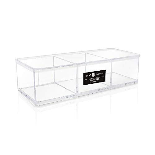 Isaac Jacobs Clear Acrylic 3 Section Organizer- Three Compartment Drawer Tray and Storage Solution for Office, Bathroom, Kitchen, Supplies, and More (Clear)