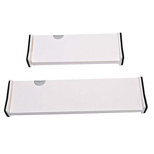 Cozyhouse Adjustable Plastic Drawer Dividers Organizer Dresser Divider Kitchen Bathroom Bedroom Drawer Divider for Clothes Underwear Utensils Toiletries Set of 2PCS (1 Small & 1 Large)