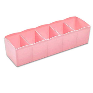 5 Cells Plastic Storage Box Socks Drawer Cosmetic Divider, Storage Organizer