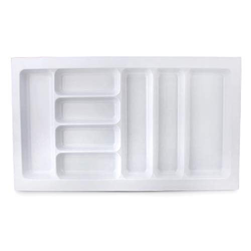 DROS White Cutlery Tray Insert Utensil Drawer Divider Organiser for 830-900mm Width Drawer ABS 8 compartments New