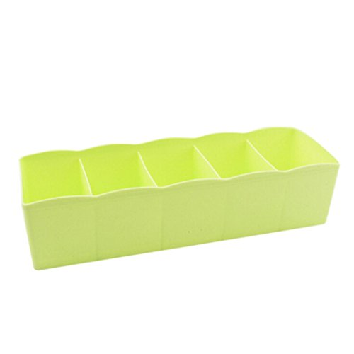 Hot Sale ! ? Ninasill ? 5 Cells Plastic Organizer Storage Box Tie Bra Socks Drawer Cosmetic Divider Tidy (Green)