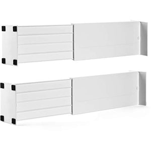 "Dial Industries Adjustable Spring Loaded Drawer Dividers, Set of 2, 4.5"" Deep, White"