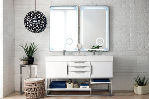 "Columbia 59"" Double Vanity, Glossy White, Radiant Gold"