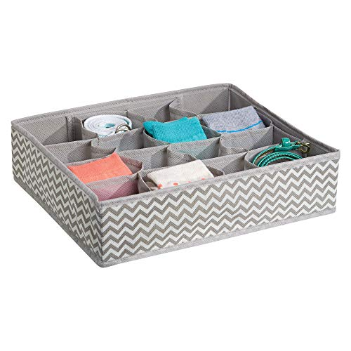 iDesign Chevron Fabric Closet and Dresser Drawer Storage Organizer, for Underwear, Socks, Bras, Tights, Leggings, 16 Compartments, Taupe and Natural