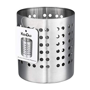 "Kitchen Utensil Holder, KSENDALO Stainless Silverware holder, Kitchen Utensil Drying Cylinder,utility for Kitchen/Home/Office, Diameter 4.72""(L)"