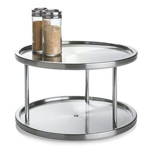 Lovotex 2 Tier Lazy Susan Stainless Steel 360 Degree Turntable – Rotating 2-Level Tabletop Stand for Your Dining Table, Kitchen Counters and Cabinets – Turning Table Spice Rack Organizer Tray